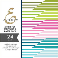 Altenew - A Love For Stripes Set A - 6 x 6 Paper Pack - 24 Sheets