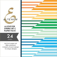 Altenew - A Love For Stripes Set C - 6 x 6 Paper Pack - 24 Sheets