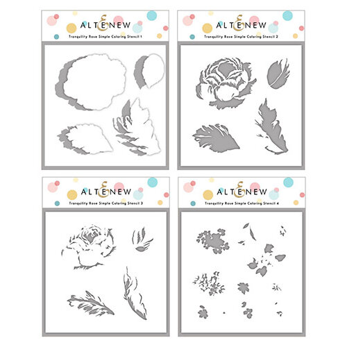 Altenew - Simple Coloring Stencil - 4 in 1 Set - Tranquility Rose