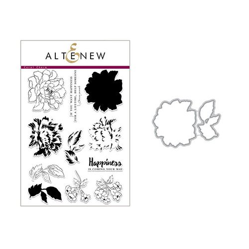 Altenew - Die and Clear Acrylic Stamp Set - Build A Flower - Coral Charm