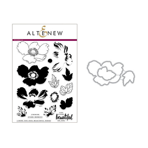 Altenew - Die and Clear Acrylic Stamp Set - Build A Flower - Anemone