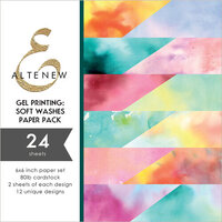 Altenew - Gel Printing Soft Washes - 6 x 6 Paper Pack - 24 Sheets