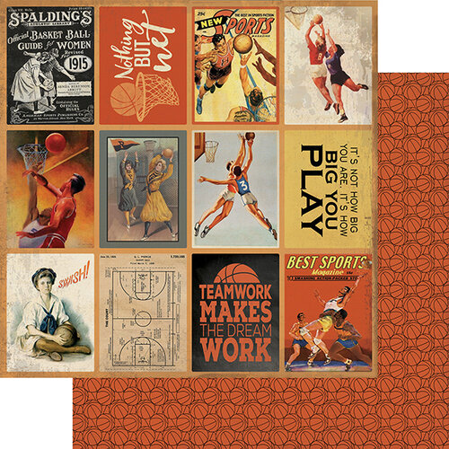 Authentique Paper - All Star Collection - 12 x 12 Double Sided Paper - Basketball Images