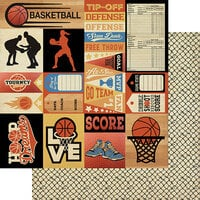 Authentique Paper - All Star Collection - 12 x 12 Double Sided Paper - Basketball Sentiments