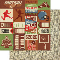 Authentique Paper - All Star Collection - 12 x 12 Double Sided Paper - Football Sentiments