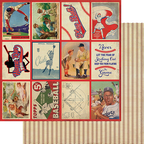 Authentique Paper - All Star Collection - 12 x 12 Double Sided Paper - Baseball Images