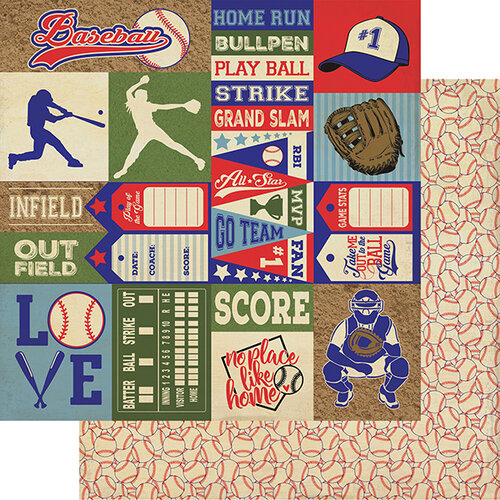 Authentique Paper - All Star Collection - 12 x 12 Double Sided Paper - Baseball Sentiments