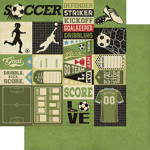 Authentique Paper - All Star Collection - 12 x 12 Double Sided Paper - Soccer Sentiments
