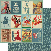 Authentique Paper - All Star Collection - 12 x 12 Double Sided Paper - Dance and Cheer Images