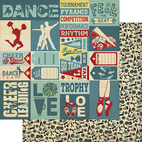 Authentique Paper - All Star Collection - 12 x 12 Double Sided Paper - Dance and Cheer Sentiments