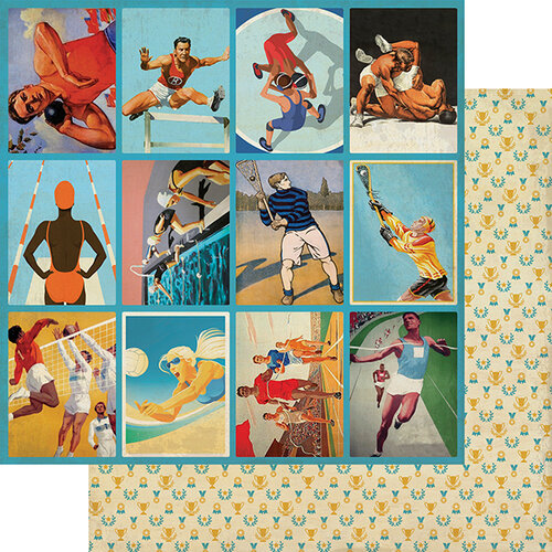 Authentique Paper - All Star Collection - 12 x 12 Double Sided Paper - Club Sports Images