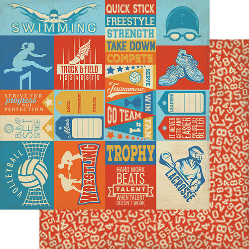Authentique Paper - All Star Collection - 12 x 12 Double Sided Paper - Club Sports Sentiments