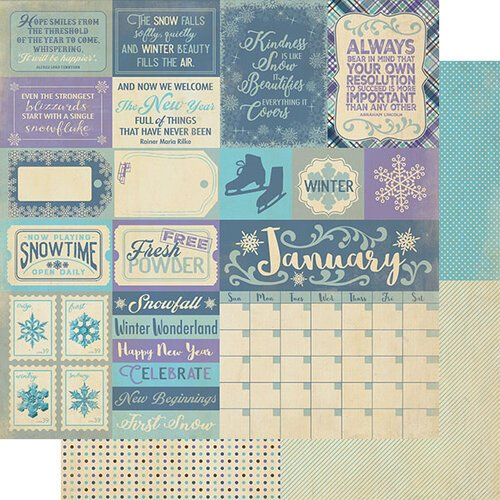 Authentique Paper - Calendar Collection - 12 x 12 Double Sided Paper - January Sentiments