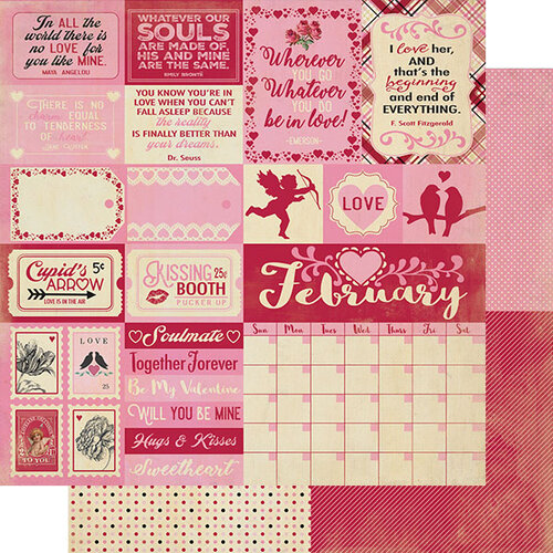 Authentique Paper - Calendar Collection - 12 x 12 Double Sided Paper - February Sentiments