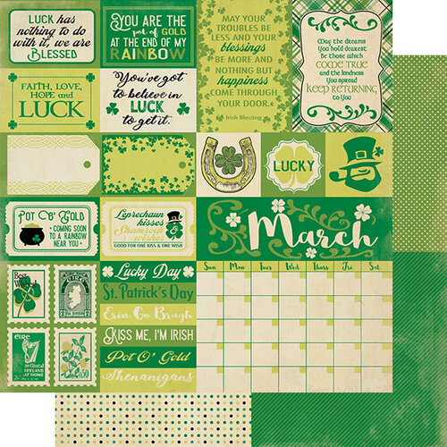Authentique Paper - Calendar Collection - 12 x 12 Double Sided Paper - March Sentiments