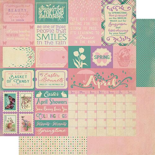 Authentique Paper - Calendar Collection - 12 x 12 Double Sided Paper - April Sentiments