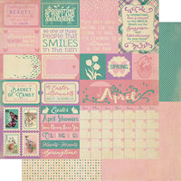 Authentique Paper - Calendar Collection - 12 x 12 Double Sided Paper - April Sentiments