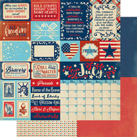 Authentique Paper - Calendar Collection - 12 x 12 Double Sided Paper - July Sentiments