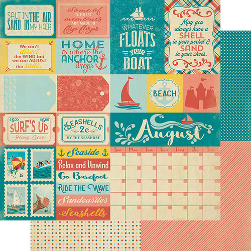 Authentique Paper - Calendar Collection - 12 x 12 Double Sided Paper - August Sentiments