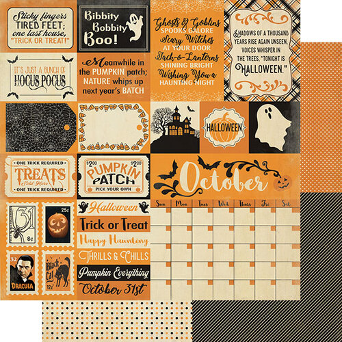 Authentique Paper - Halloween - Calendar Collection - 12 x 12 Double Sided Paper - October Sentiments