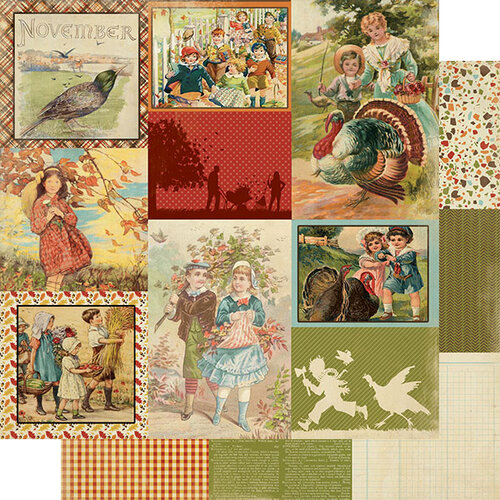 Authentique Paper - Calendar Collection - 12 x 12 Double Sided Paper - November Images