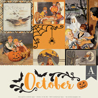 Authentique Paper - Halloween - Calendar Collection - 12 x 12 Collection Pack - October