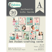 Authentique Paper - Fabulous Collection - 3 x 4 Pocket Crafting Cards - Authentic Life