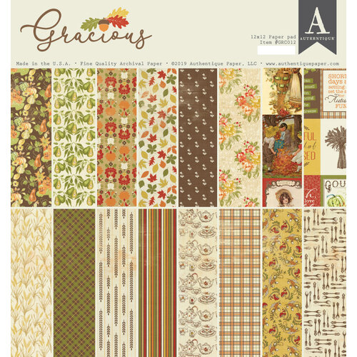 Authentique Paper - Gracious Collection - 12 x 12 Paper Pad