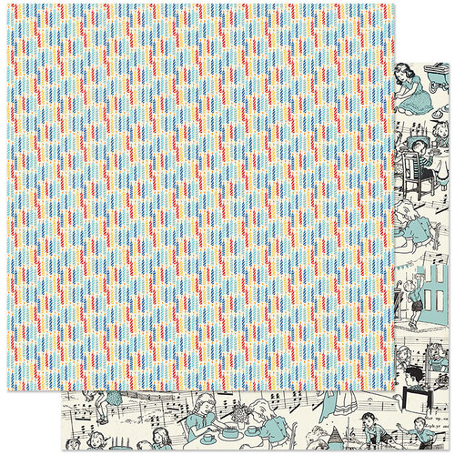 Authentique Paper - Hooray Collection - 12 x 12 Double Sided Paper - Number Four