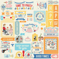 Authentique Paper - Hooray Collection - 12 x 12 Cardstock Stickers - Details