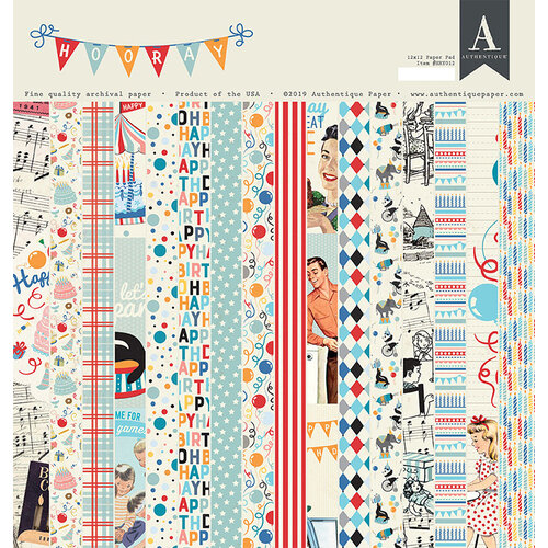 Authentique Paper - Hooray Collection - 12 x 12 Paper Pad