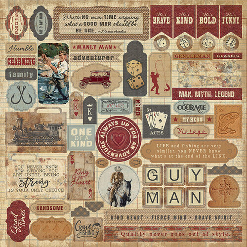 Authentique Paper - Manly Collection - 12 x 12 Cardstock Stickers - Details