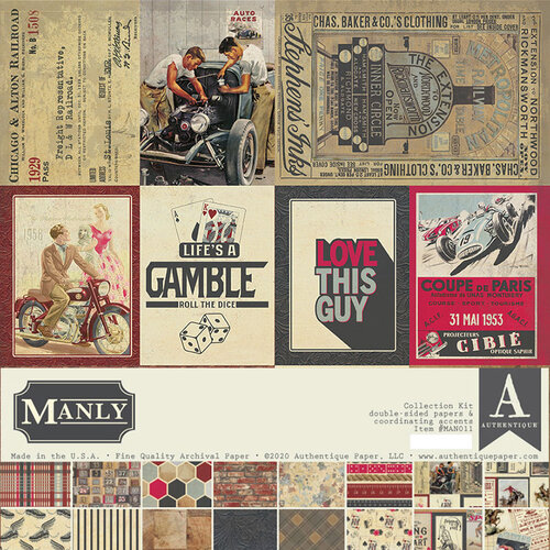 Authentique Paper - Manly Collection - 12 x 12 Collection Kit