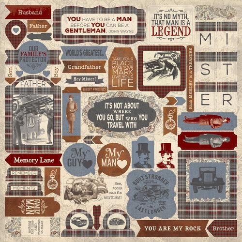 Authentique Paper - Mister Collection - 12 x 12 Cardstock Stickers - Details
