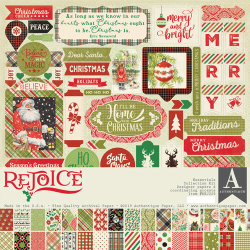 Authentique Paper - Christmas - Rejoice Collection - 12 x 12 Essentials Collection Kit