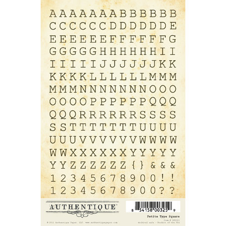 Authentique Paper - Journey Collection - Cardstock Stickers - Petite Type Square Alphabet