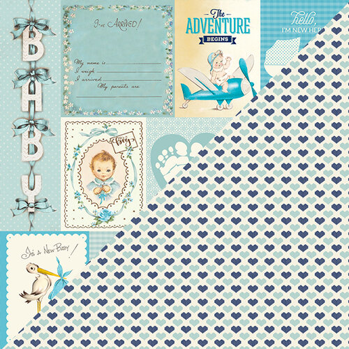 Authentique Paper - Swaddle Boy Collection - 12 x 12 Double-Sided Paper - Eight