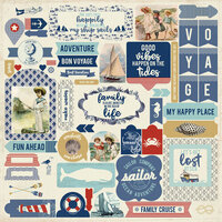 Authentique Paper - Voyage Collection - 12 x 12 Cardstock Stickers - Details