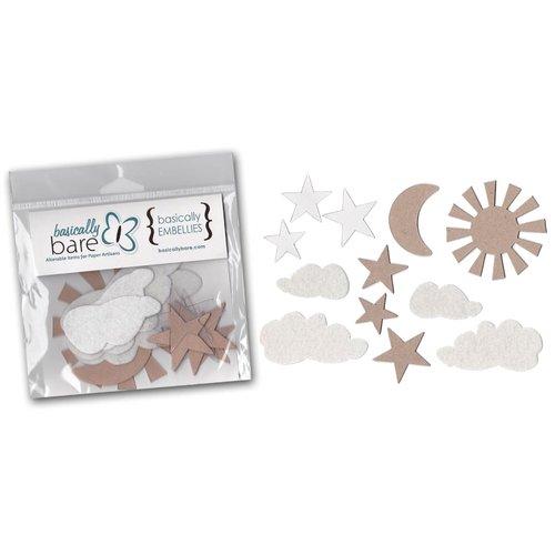 Basically Bare - Basically Embellies - Bare Basics - Acrylic Chipboard and Felt Pieces - Celestial Shapes