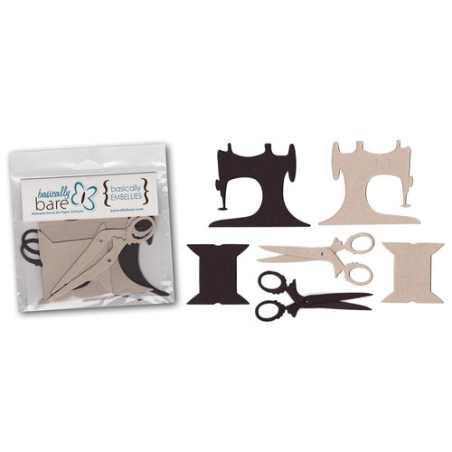 Basically Bare - Basically Embellies - Signature Series - Chipboard Pieces - Sew Vintage Set