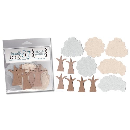 Basically Bare - Basically Embellies - Bare Basics - Canvas Cardboard Chipboard and Felt Pieces - Happy Little Trees Set