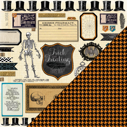 Bazzill Basics - Janet Hopkins - Arsenic and Lace Collection - 12 x 12 Double Sided Paper - Arsenic