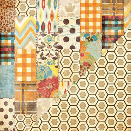 Bazzill Basics - Margie Romney Aslett - Autumn Harvest Collection - 12 x 12 Double Sided Paper - Barn Quilt