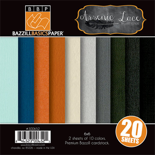 Bazzill Basics - Janet Hopkins - Arsenic and Lace Collection - 6 x 6 Coordinating Cardstock Multipack
