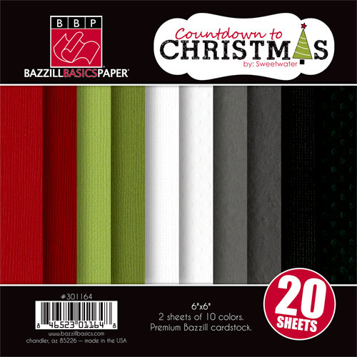Bazzill Basics - Sweetwater - Countdown to Christmas Collection - 6 x 6 Coordinating Cardstock Multipack
