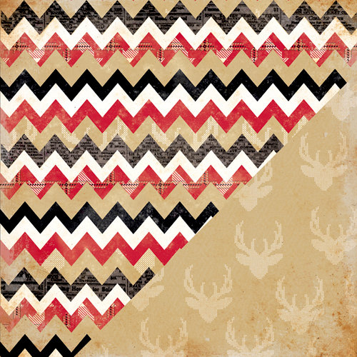 Bazzill Basics - Margie Romney Aslett - Nordic Pines Collection - 12 x 12 Double Sided Paper - Multi Chevron