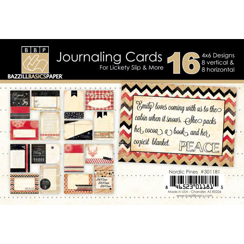 Bazzill Basics - Margie Romney Aslett - Nordic Pines Collection - Lickety Slip - 4 x 6 Journaling Cards