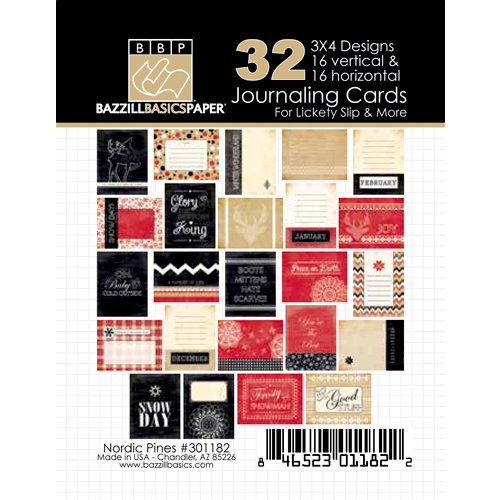 Bazzill Basics - Margie Romney Aslett - Nordic Pines Collection - 3 x 4 Journaling Cards