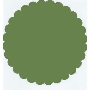 Bazzill Basics - 12x12 Medium Scallop Circle Cardstock - Guacamole - Green, CLEARANCE