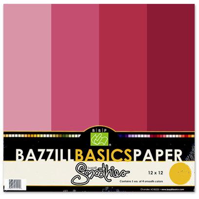 Bazzill Basics - Bazzill Smoothies - 4 Colors - 12x12 Cardstock - Currant Sensation
